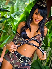 Marvelous tranny in military outfits unloading her weapon