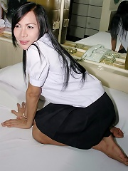 Feisty ladyboy plays for the camera