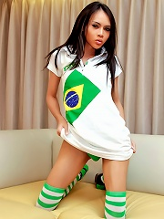 Longmint wears spunky green and white stockings