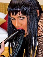 Heated tranny toying ass via the cut in a catsuit