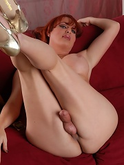 Sexy transsexual posing her juicy big tits and cock