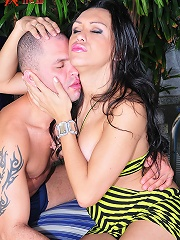Brazilian tranny Ivana has quite the sexual appetite. Marcus can barely keep up with her, plunging his dick into her tight she-pussy.